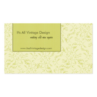 Cream and pea green vintage elegant  business card