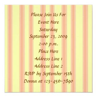 """Cream And Peach Stripes Invitation 5.25"""" Square Invitation Card"""