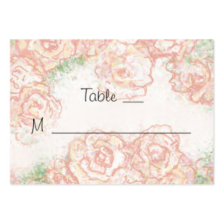 Cream and Pink Roses Wedding Place Cards Business Card