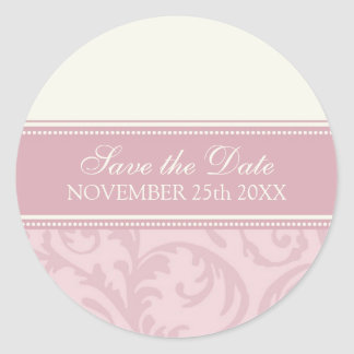 Cream and Pink Save the Date Envelope Seal Round Sticker