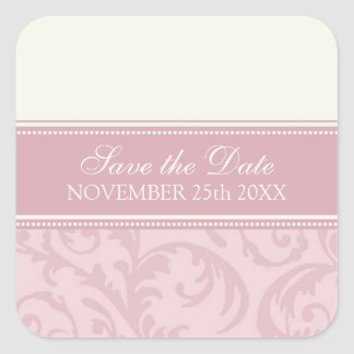 Cream and Pink Save the Date Envelope Seal Square Sticker