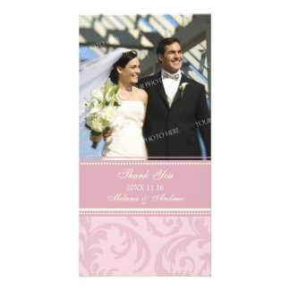 Cream and Pink Swirl Thank You Wedding Photo Cards