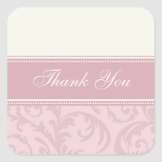 Cream and Pink Thank You Wedding Envelope Seals Square Sticker