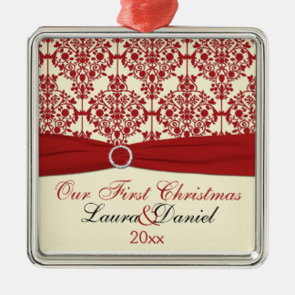 Cream and Red Damask First Christmas Ornament