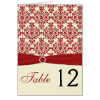 Cream and Red Damask Table Number Card