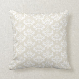 Cream and white damask pillow