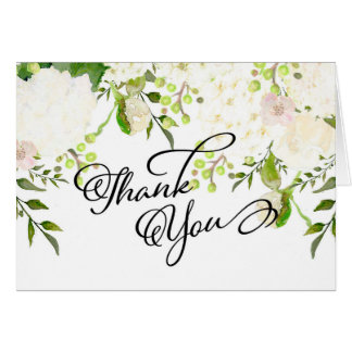 Cream and white hydrangea Floral thank you card