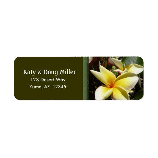 Cream and yellow plumeria address labels