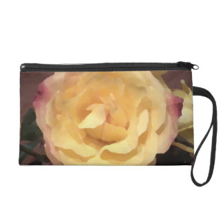 Cream Artwork Rose Wristlet