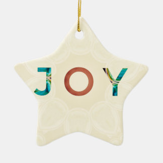 Cream Background Modern Christmas 'Joy' Ceramic Ornament