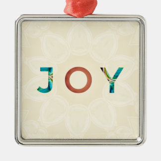 Cream Background Modern Christmas 'Joy' Metal Ornament