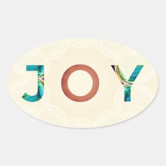 Cream Background Modern Christmas 'Joy' Oval Sticker