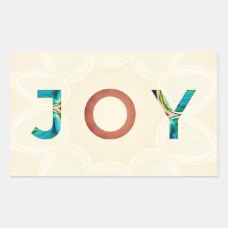 Cream Background Modern Christmas 'Joy' Rectangular Sticker