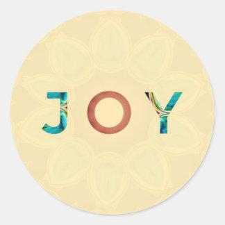 Cream Background Modern Christmas 'Joy' Round Sticker