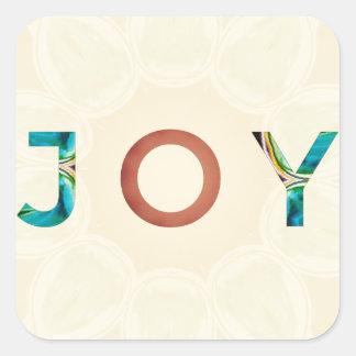Cream Background Modern Christmas 'Joy' Square Sticker