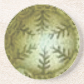 cream ball with ferns coaster