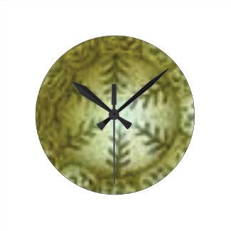 cream ball with ferns round clock