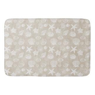 Cream Beige White Beach Shells Bath Mat