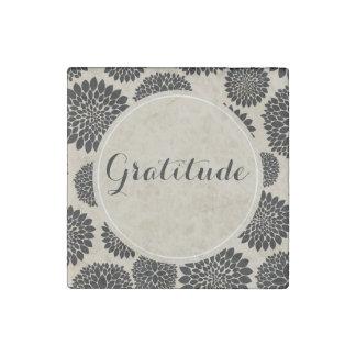 Cream Black Flowers Gratitude Stone Magnet