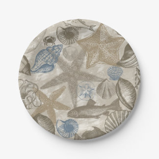 Cream Blue Beach Sea Shells Paper Plate
