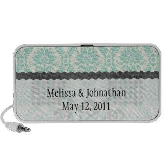 cream blue green damask wedding keepsake iPhone speaker