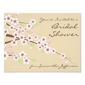 Cream / Brown Blossom Bridal Shower Invitation
