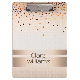 Cream Brown  Glitter Sparkle Confetti Modern Clipboard