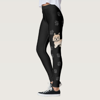 Cream Cairn Terrier Cartoon Dog With Paws Black Leggings