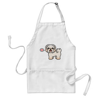 Cream Cartoon Havanese Love Standard Apron