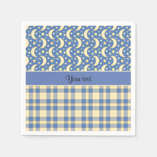 Cream Checks, Moons & Stars Paper Napkin