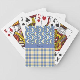 Cream Checks, Moons & Stars Playing Cards