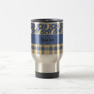 Cream Checks, Moons & Stars Travel Mug