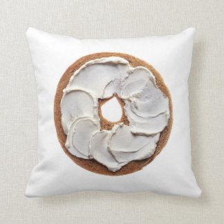 Cream Cheese Bagel Throw Pillow