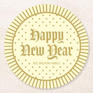 Cream Classic Decorative Geometric Happy New Year Round Paper Coaster