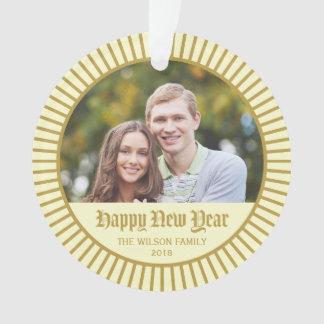 Cream Classic Decorative Happy New Year Photo Ornament