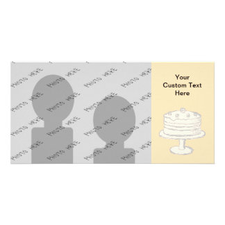 Cream Color Cake on Beige Background Photo Card Template