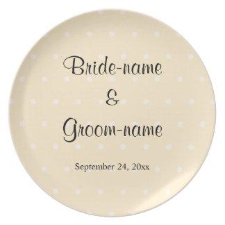 Cream Color Polka Dot Wedding Dinner Plate