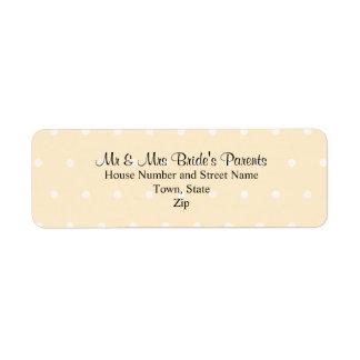Cream Color Polka Dot Wedding Return Address Label