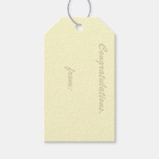 Cream-Colored Congratulations Gift Tag