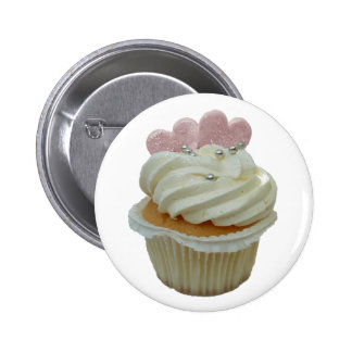 Cream Cupcake with Pink Hearts Pinback Buttons
