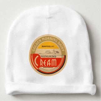 Cream :: Customizable Retro Dairy Milk Bottle Cap Baby Beanie