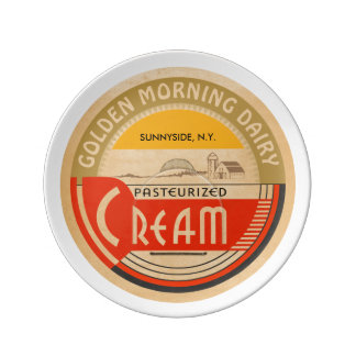 Cream :: Customizable Retro Dairy Milk Bottle Cap Plate