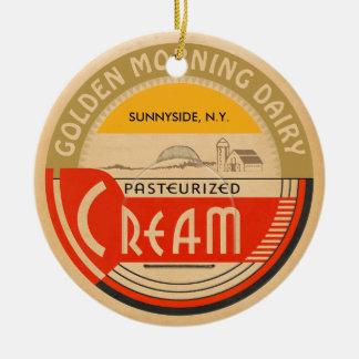 Cream :: Customizable Retro Dairy Milk Bottle Cap Round Ceramic Decoration