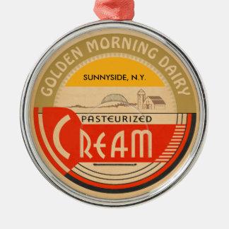 Cream :: Customizable Retro Dairy Milk Bottle Cap Silver-Colored Round Decoration