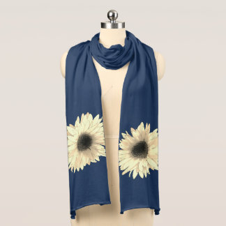 Cream Daisies shown on a Navy Scarf