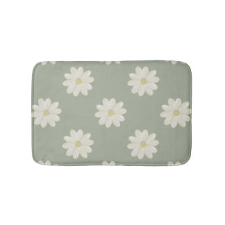 Cream Daisy Sage Green Small Bath Mat