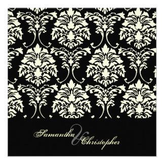 Cream damask, custom wedding invitations