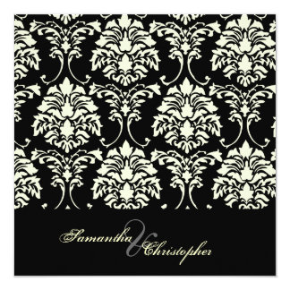 Cream damask, custom wedding invitations
