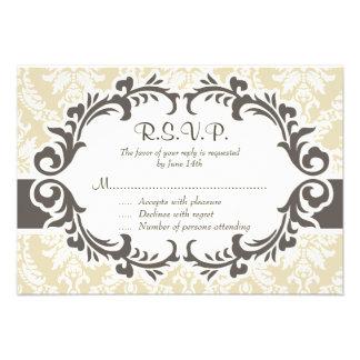 Cream Damask RSVP Card Personalized Invite