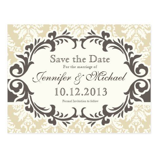 Cream Damask Save the Date Postcard